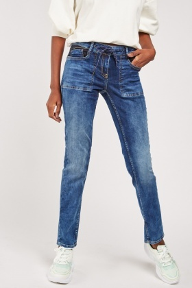Drawstring Lacing Waist Jeans