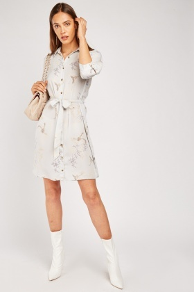 Oriental Bird Print Shirt Dress