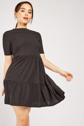 Ribbed Tiered Tunic Dress