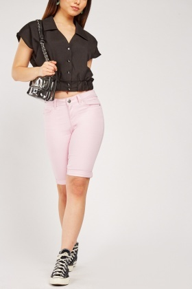 Roll Up Hem Casual Shorts