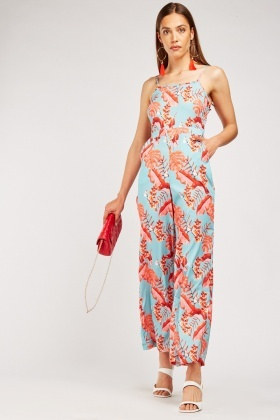 Tropical Leaf Print Contrasted Jumpsuit