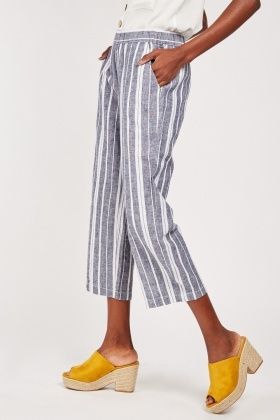 Wide Leg Striped Textured Trousers