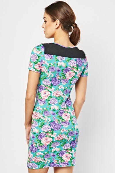 Contrast Trim Textured Floral Dress