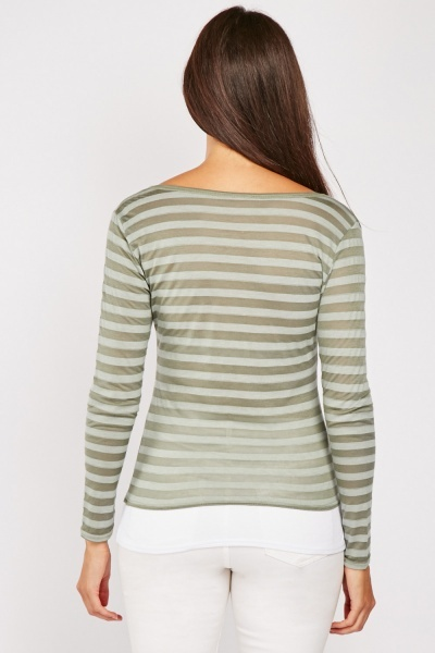 Olive Striped Insert Top
