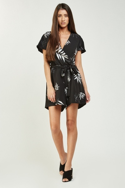 CHEAP Leaf Print Wrap Playsuit 28401959417 – Women's Dresses & Skirts