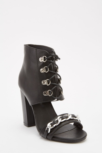Chain Faux Leather Ankle Sandals
