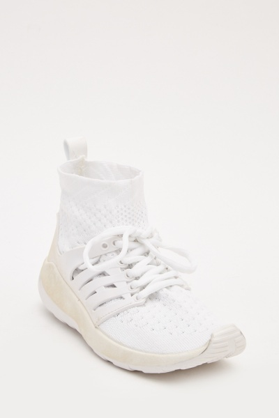 Contrasted Mesh High Top Trainers