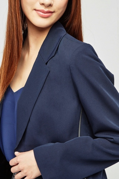 Lapel Front Zipper Side Blazer