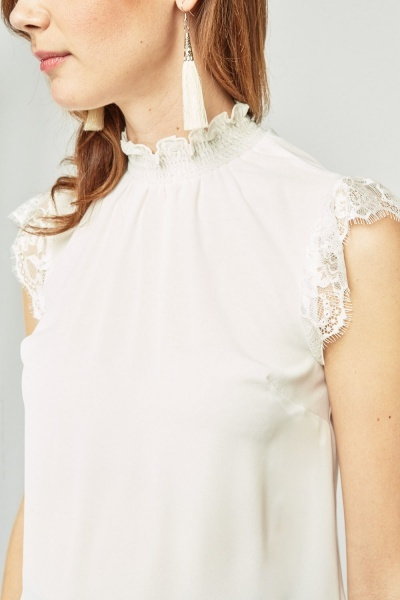 Lace Trim Sheer Chiffon Top