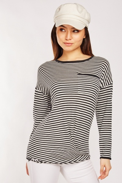 CHEAP Casual Single Pocket Front Striped Top 25431638591 – Women's Tops