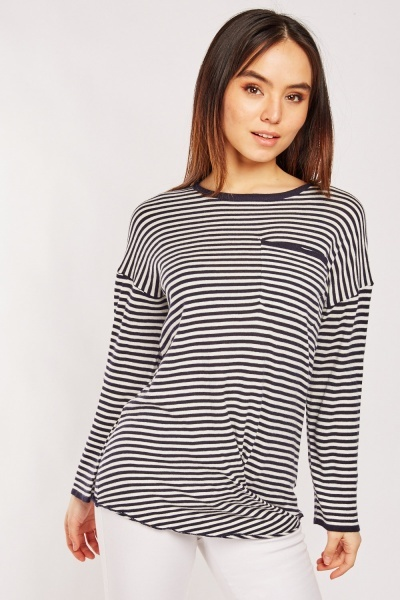 CHEAP Casual Single Pocket Front Striped Top 25431638597 – Women's Tops