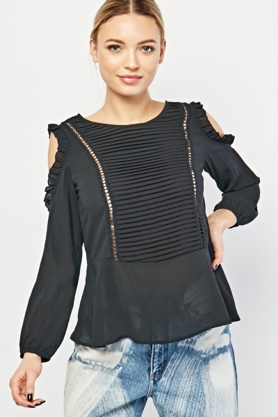 Pleated Front Ruffle Trim Blouse