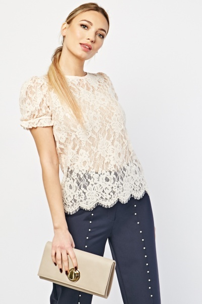 CHEAP Quilted Sleeve Lace Top 23752520907 – Women's Tops
