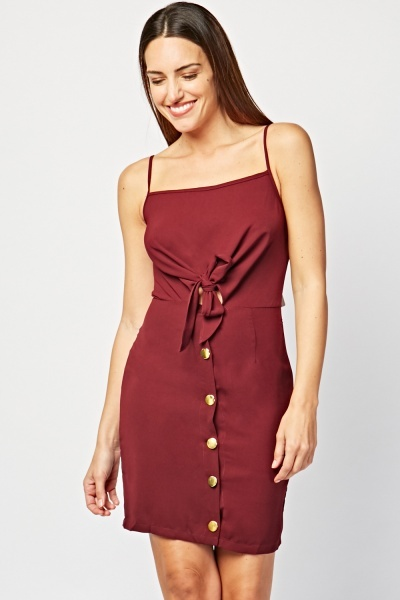 Button Front Tie Up Dress