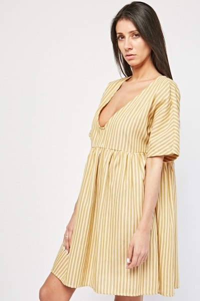 V-Neck Stripe Smoke Dress