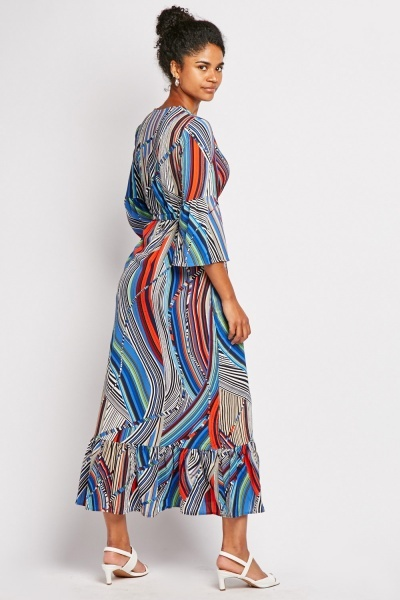 Multi Spiral Stripe Maxi Dress
