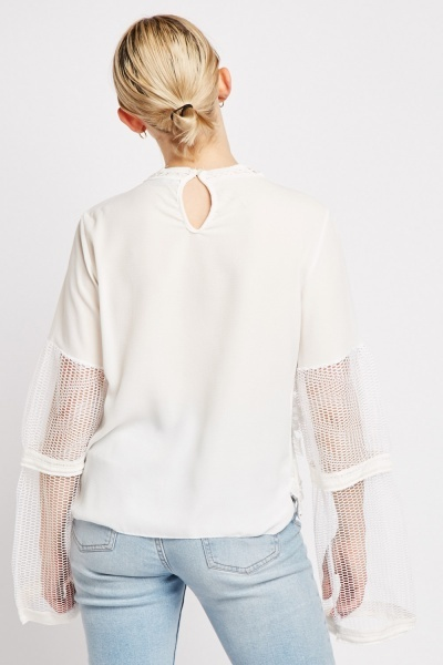 Perforated Crochet Overlay Blouse