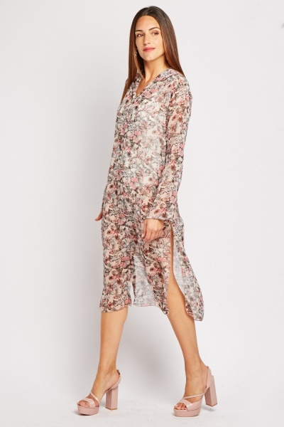 Butterfly Print Sheer Beach Cover Up