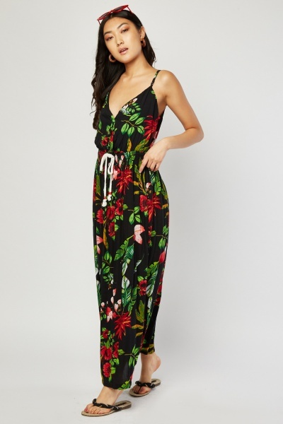 Drawstring Waist Printed Maxi Dress