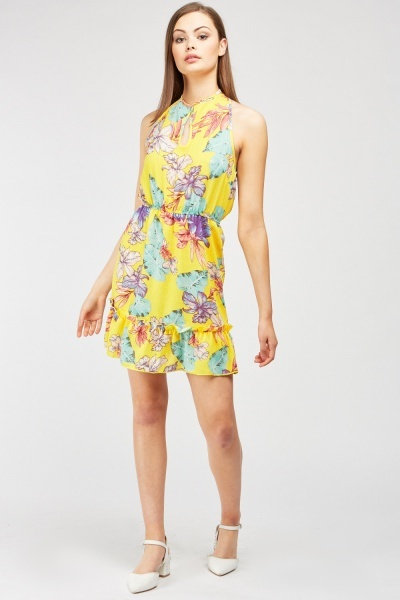 CHEAP Floral Keyhole Halter Dress 24145946419 – Women's Dresses & Skirts