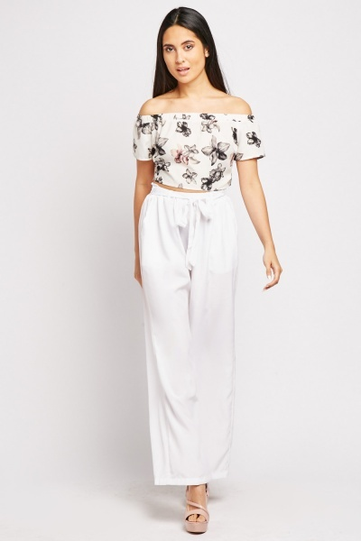 Belted Waist Flared Trousers
