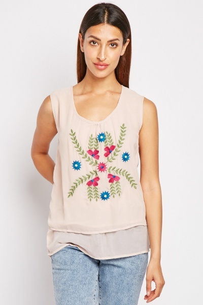 Embroidered Front Sheer Top