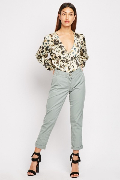 CHEAP Low Waisted Chino Trousers 28811324213 – Women's Trousers