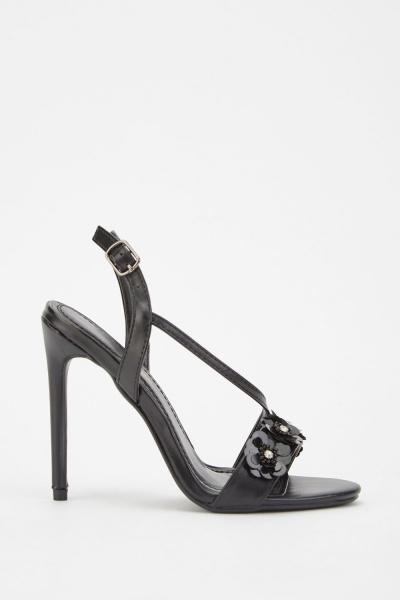 CHEAP 3D Flower Contrast Heeled Sandals 24422536385 – Women's Footwear