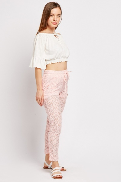 Skinny Fit Lace Trousers