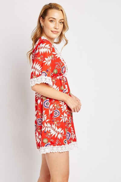 Crochet Trim Printed Tunic Dress