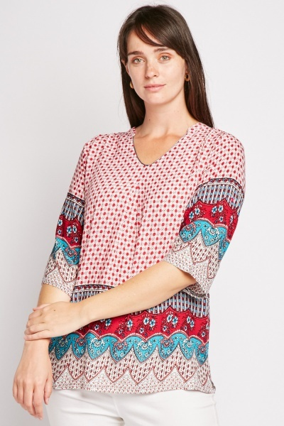 Ethnic Print Tunic Blouse