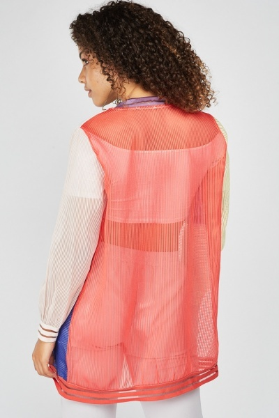 Colour Block Mesh Bomber Jacket