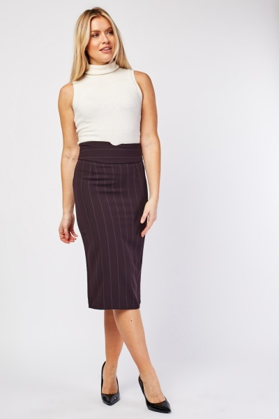 Pin Striped Midi Pencil Skirt