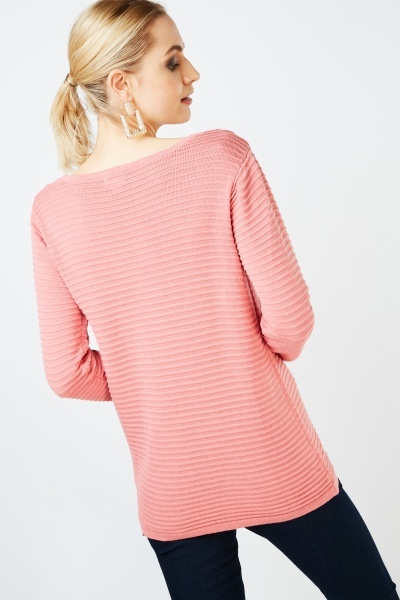Scoop Neck Rib Knit Jumper