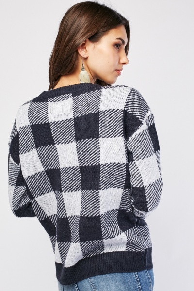 Checkered Knitted Jumper