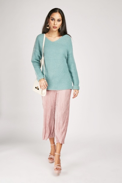 V-Neck Chunky Knit Jumper