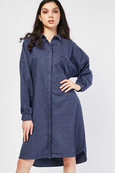 Anchor Print Shirt Dress