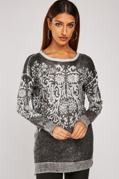 Encrusted Demask Print Knit Sweater