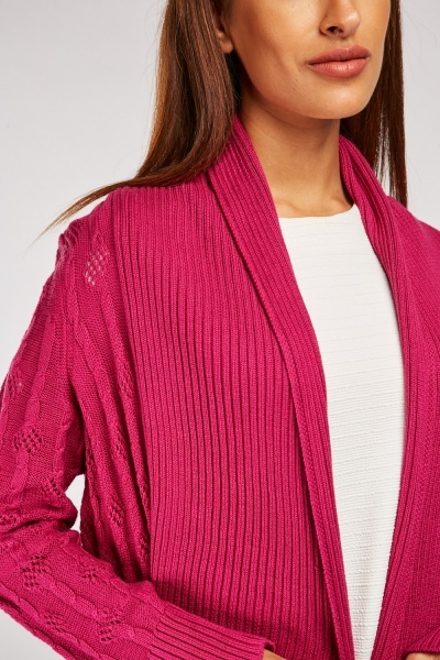 Ribbed Panel Cable Knit Cardigan