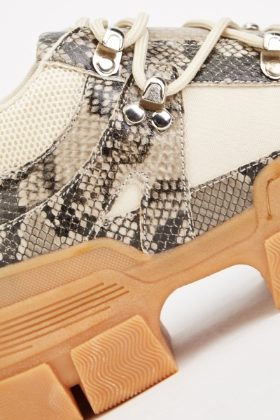 Snake Print Chunky Trainers
