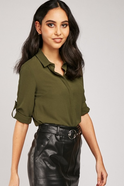 Adjustable Roll Up Sleeve Chiffon Shirt