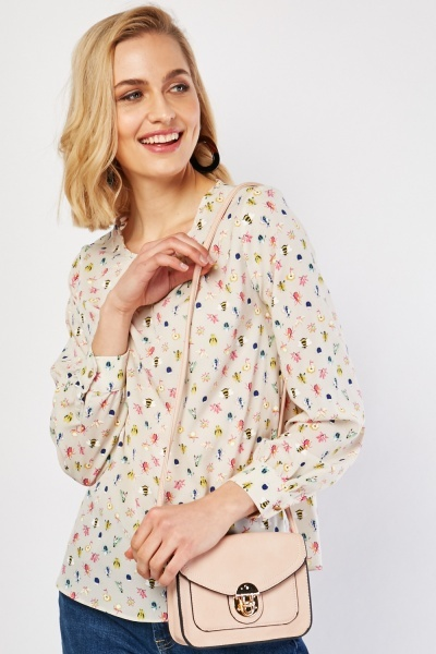 Insect Print  Ruffle Neck Blouse