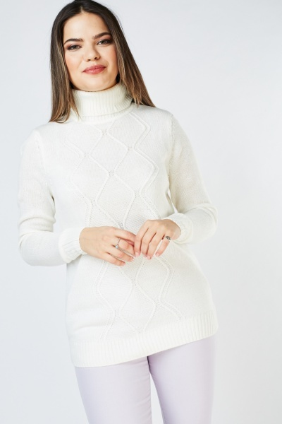 Roll Neck Diamond Pattern Jumper