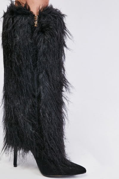 Fur Overlay Knee High Boots