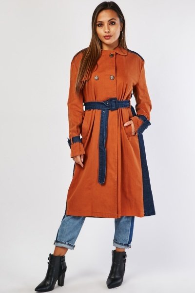 Denim Contrast Trench Coat