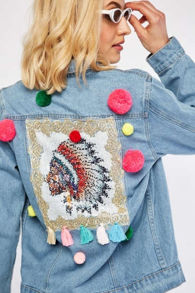 Multi Coloured Pom-Pom Trim Denim Jacket