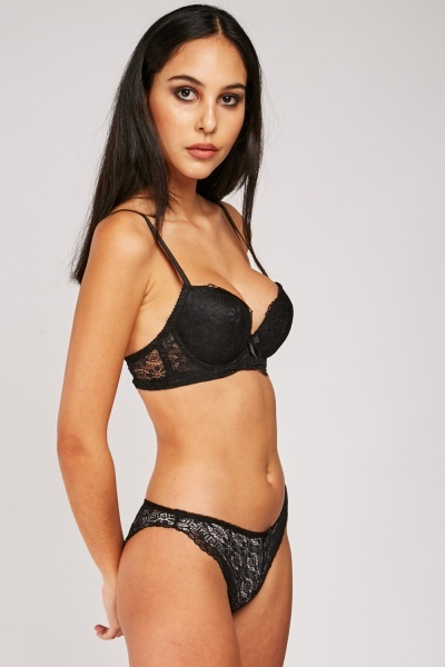 Padded Lace Bra And Brief Set