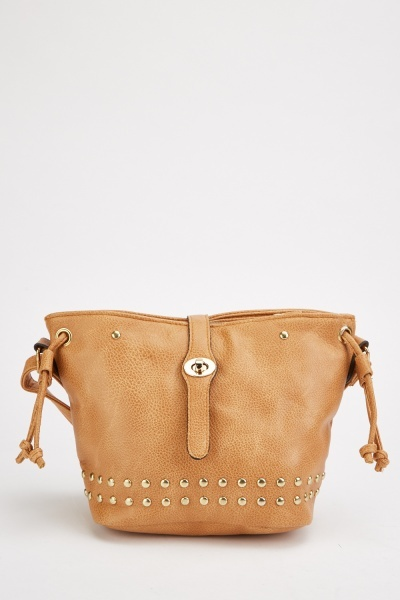 studded textured shoulder bag