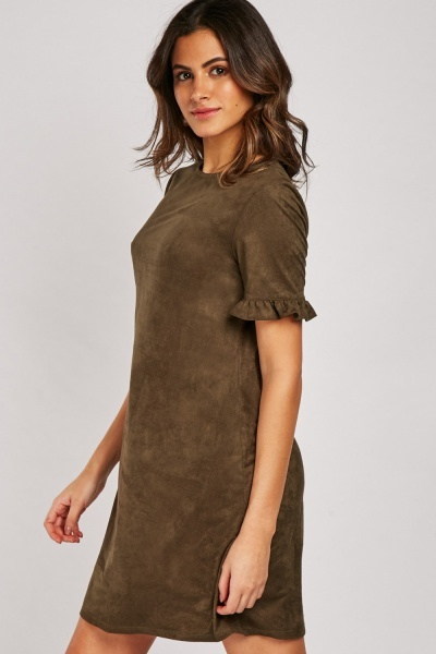 Frilly Sleeve Hem Suedette Shift Dress
