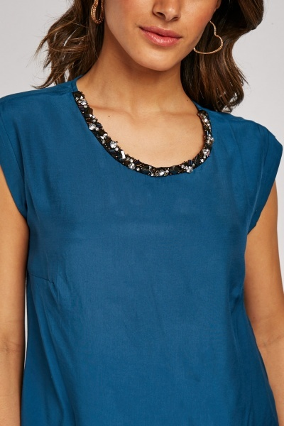 Sequin Embellished Neck Top